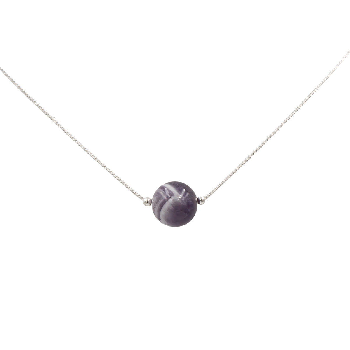 Handmade Amethyst solitaire sterling silver necklace