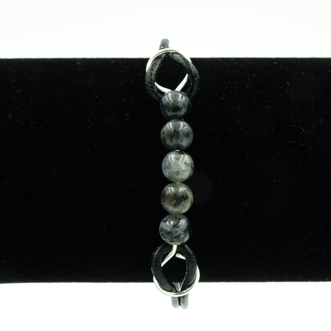 Black Moonstone on Leather Bracelet - The Perfect Gift For Dad!