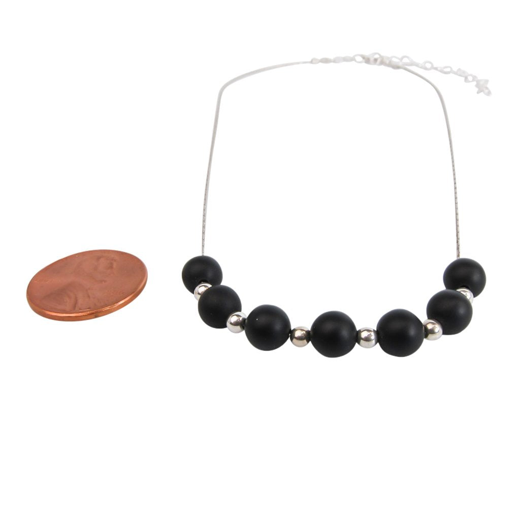 Black & Silver Matte Agate Necklace - Handmade In Conifer Jewelry sizing