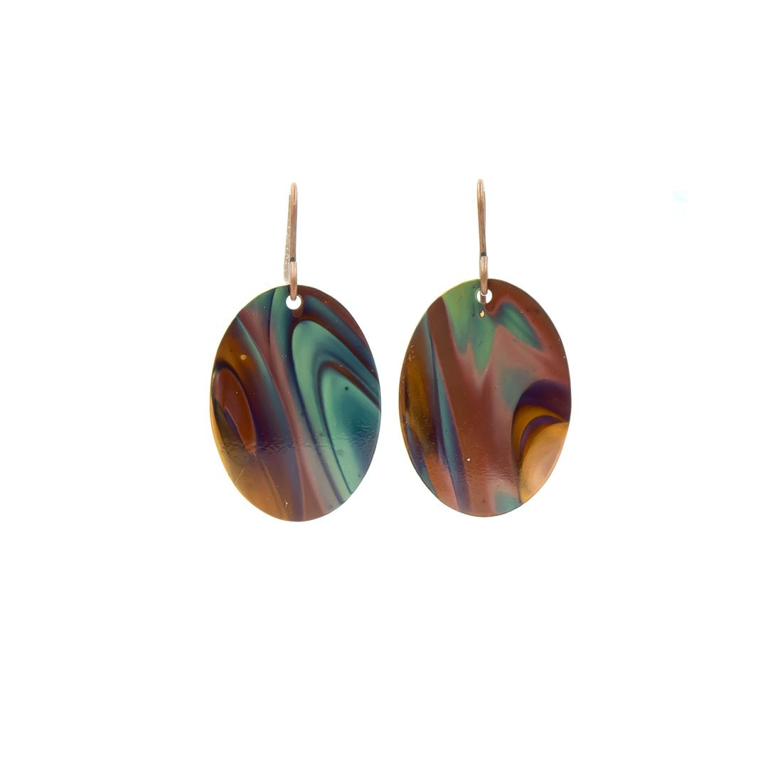 Blue Ovals Hand Torched Flame Copper Earrings