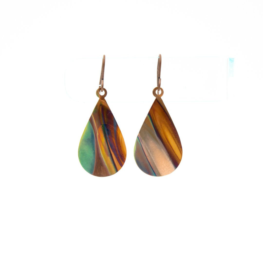 Landscapes Hand Torched Flame Copper Earrings