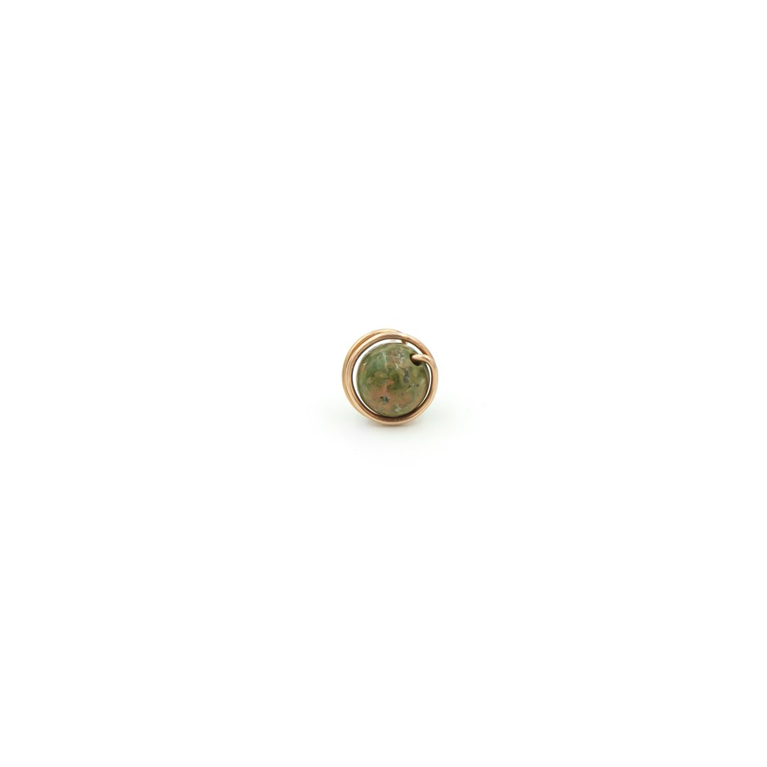 Handmade Copper Wrapped Unakite Single Stud Earring - Perfect For Father's Day