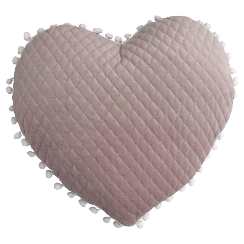 Large Heart Pom-Pom Cushion in Light Blush