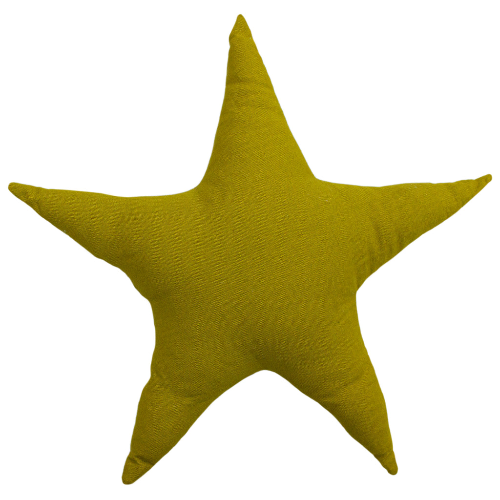 Printed Star Cushion in Pink/Mustard