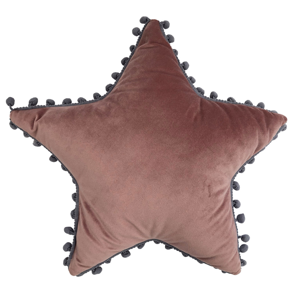 Star Pom Pom Cushion in Blush/Grey
