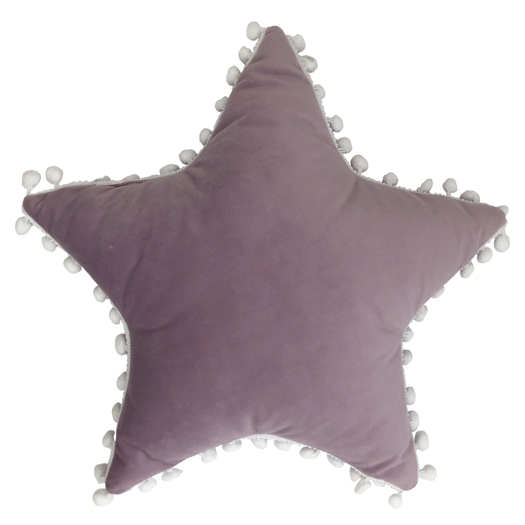 Star Pom Pom Cushion in Lilac/White