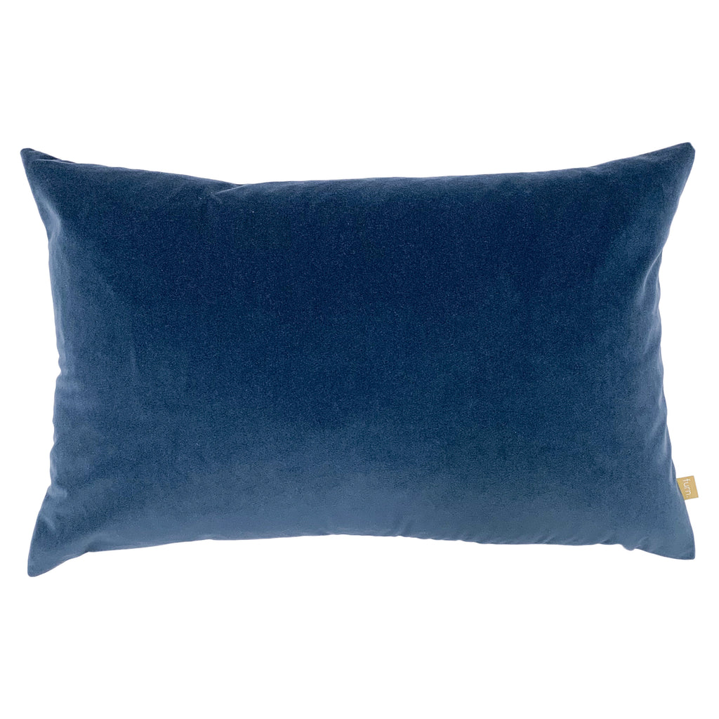 Contra Velvet/Linen Cushion in Slate Blue