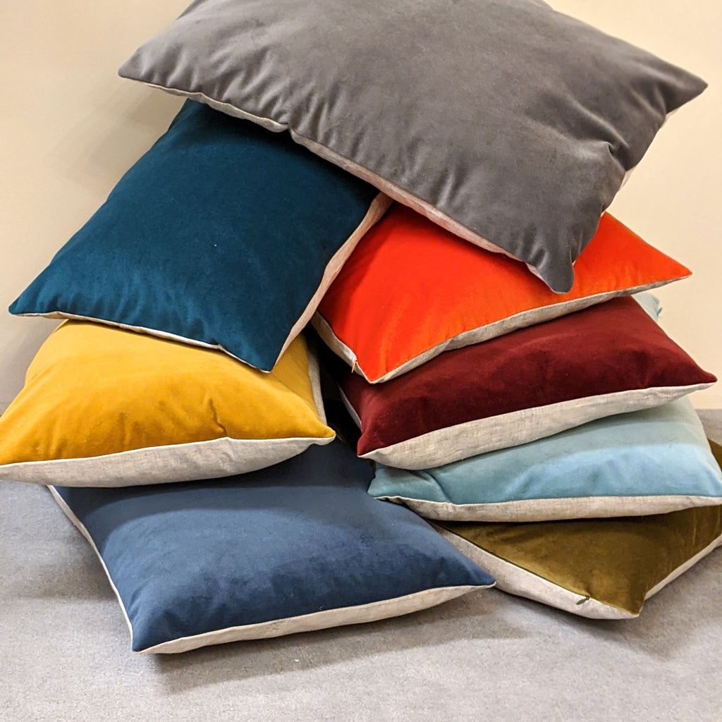 Contra Velvet/Linen Cushion in Steel Grey