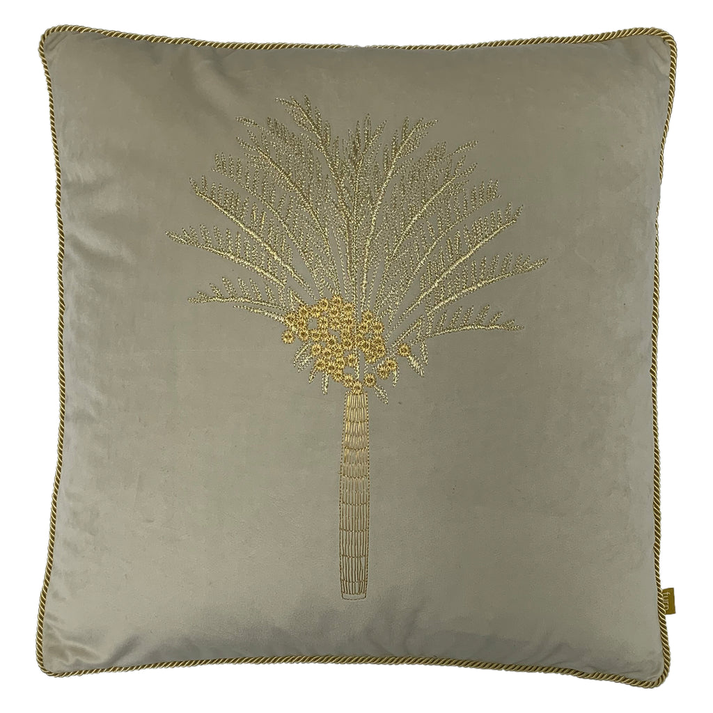 Desert Palm Embroidered Velvet Cushion in Ivory