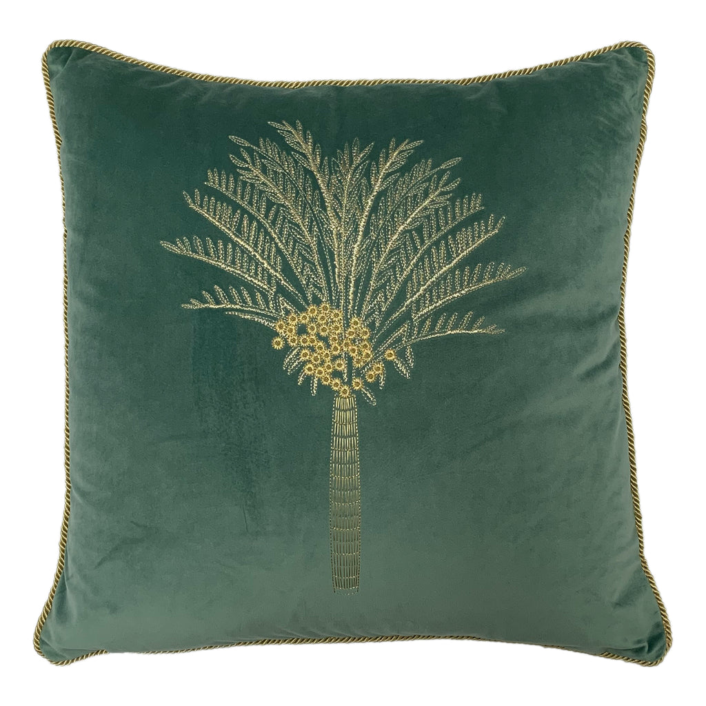 Desert Palm Embroidered Velvet Cushion in Mineral
