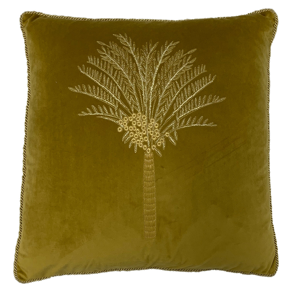 Desert Palm Embroidered Velvet Cushion in Olive