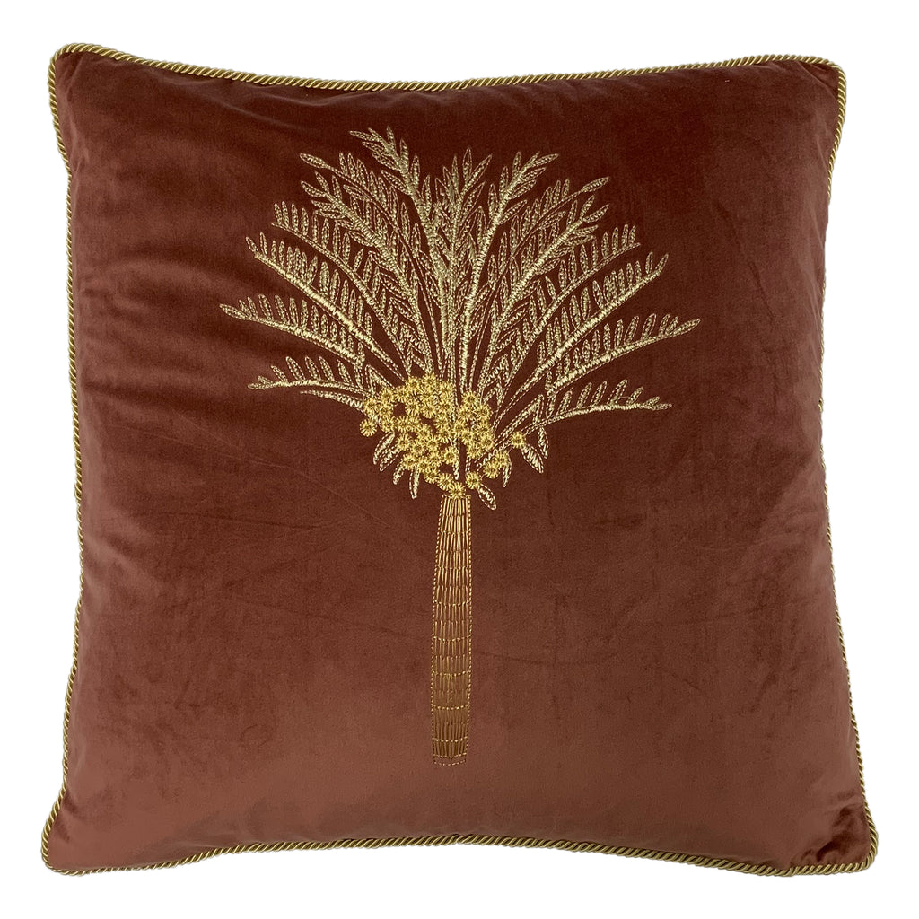 Desert Palm Embroidered Velvet Cushion in Rock Rose