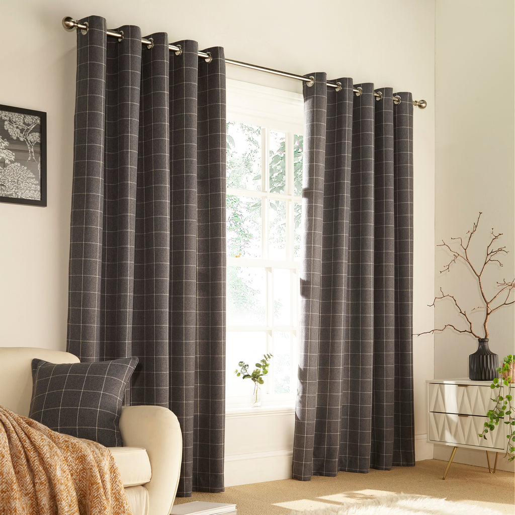 Ellis Eyelet Curtains in Grey