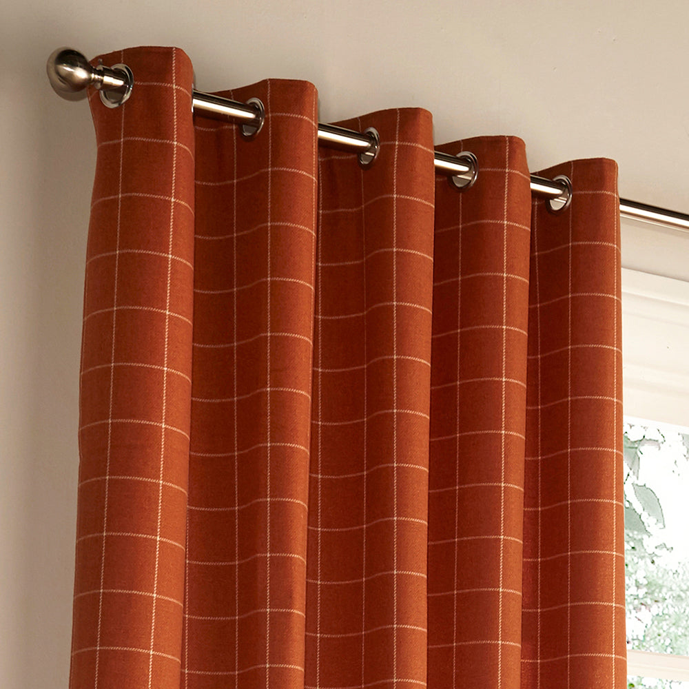 Ellis Ring Top Curtains in Burnt Orange
