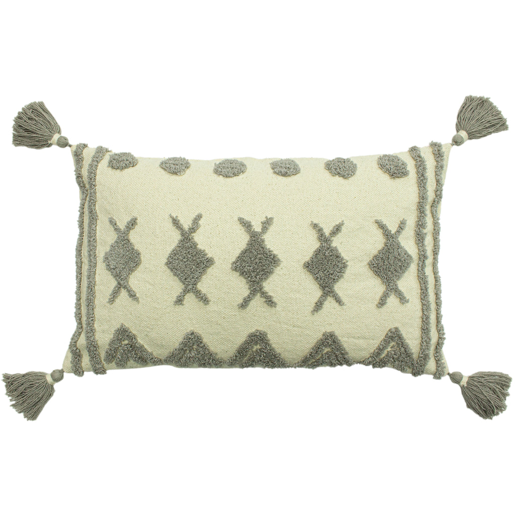 Esme Tufted Cushion in Grey