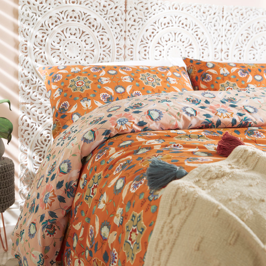 Folk Flora Duvet Cover Set in Orange