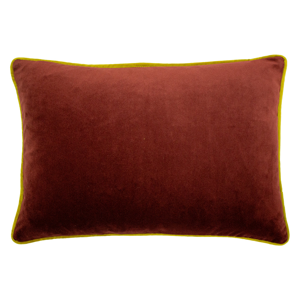 Forest Fauna Embroidered Squirrel Velvet Cushion in Burgundy