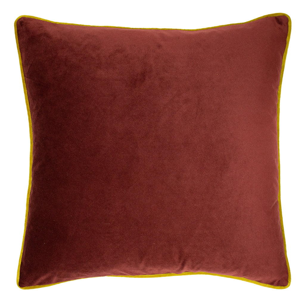 Forest Fauna Embroidered Stag Velvet Cushion in Burgundy