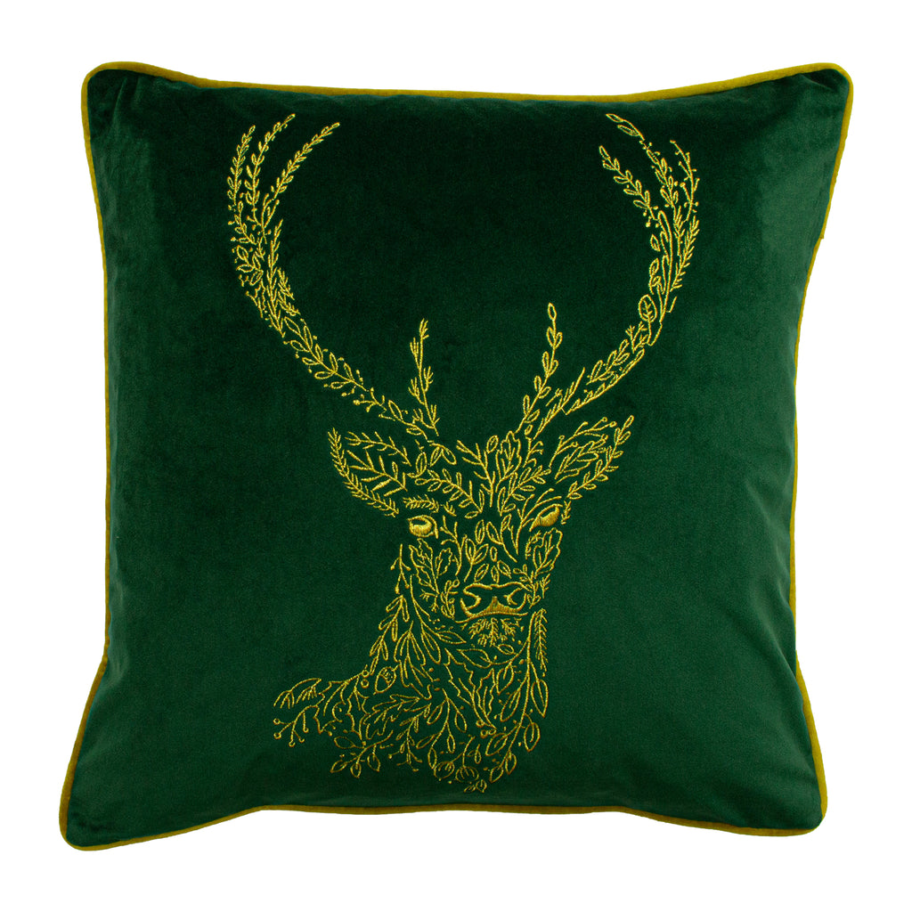 Forest Fauna Embroidered Stag Velvet Cushion in Emerald