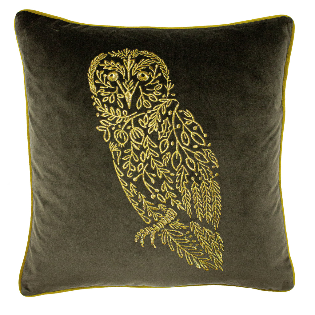 Forest Fauna Embroidered Owl Velvet Cushion in Grey