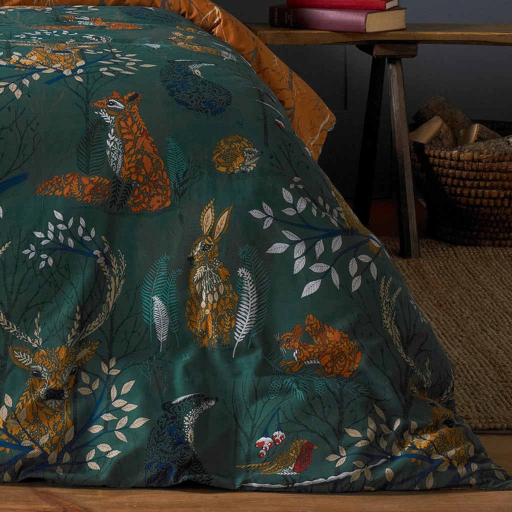 Forest Fauna Duvet Cover Set in Emerald