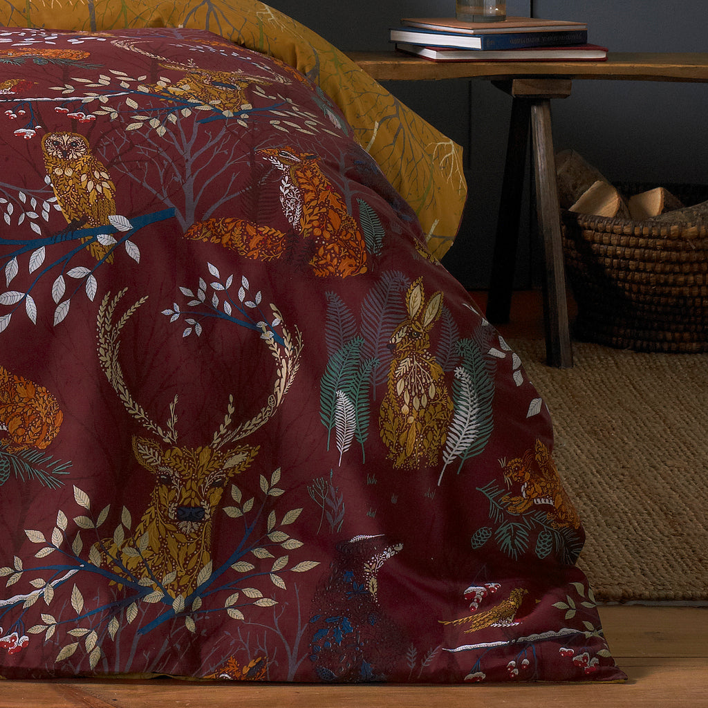 Forest Fauna Duvet Cover Set in Rust