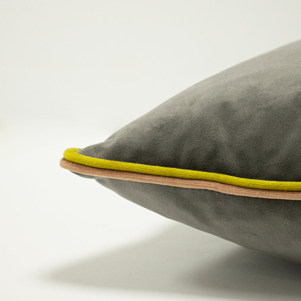 Gemini Cushion with Double Pipe, in Grey/Bamboo/Blush