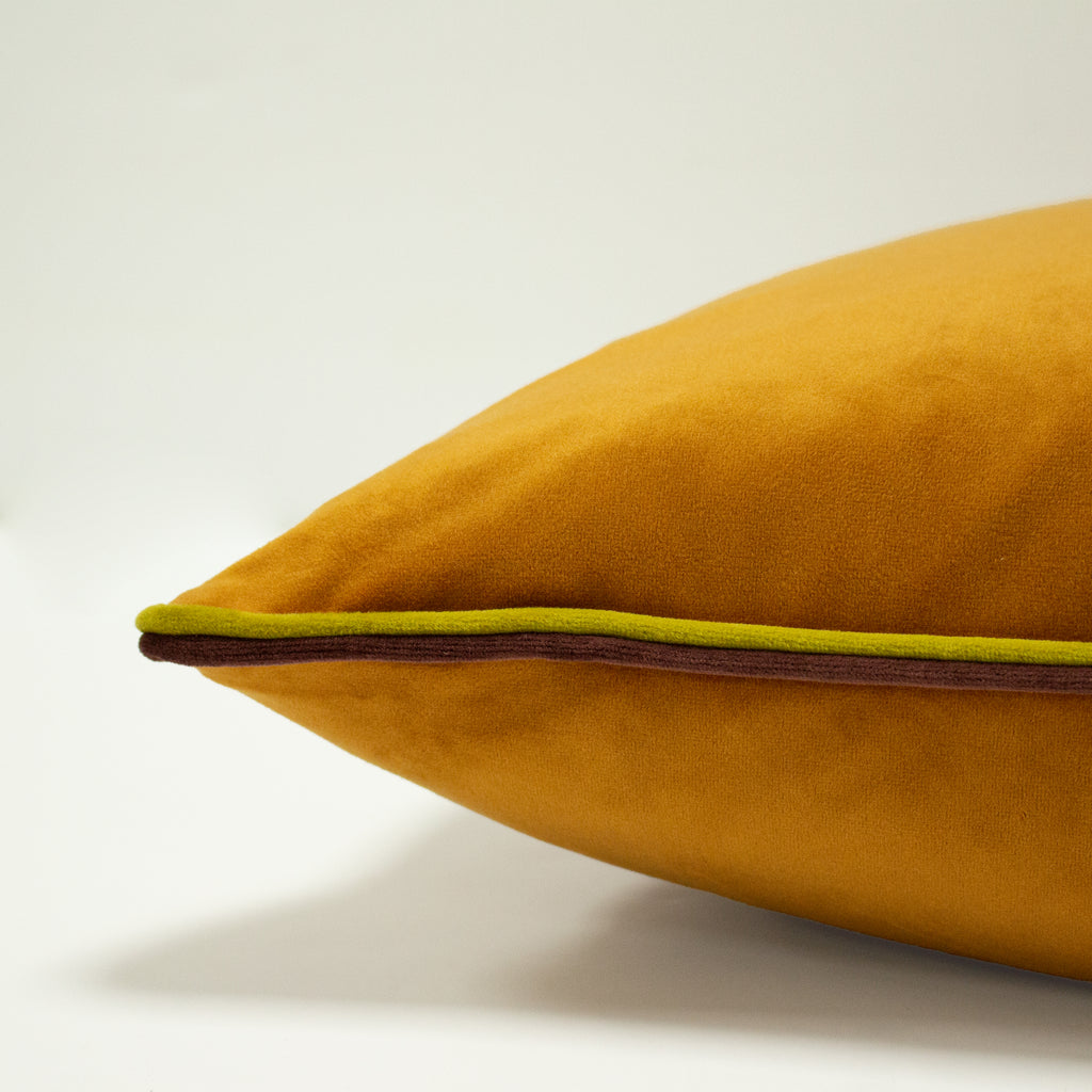 Gemini Cushion with Double Pipe, in Pumpkin/Bamboo/Burgundy