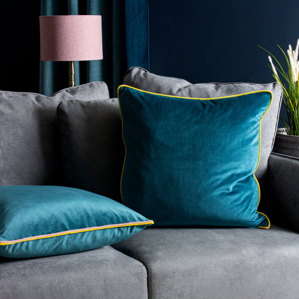 Gemini Cushion with Double Pipe, in Teal/Blush/Ceylon