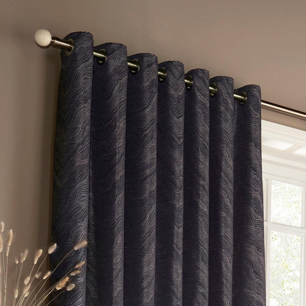 Himalaya Eyelet Curtains in Navy