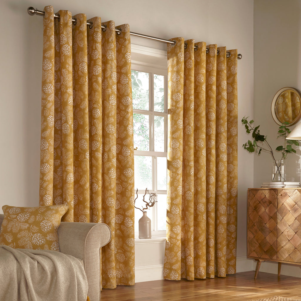 Irwin Eyelet Curtains in Mustard