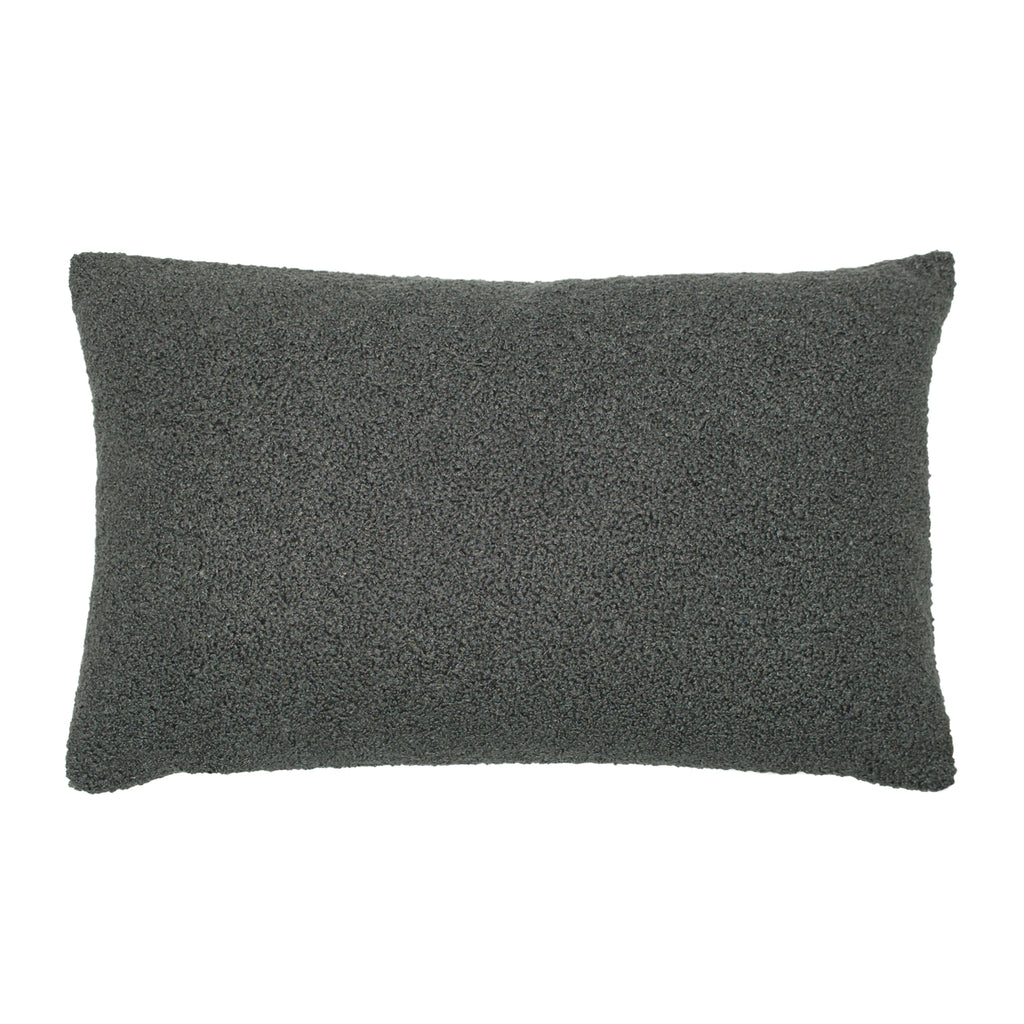Malham Shearling-Feel Fleece Oblong Cushion in Granite