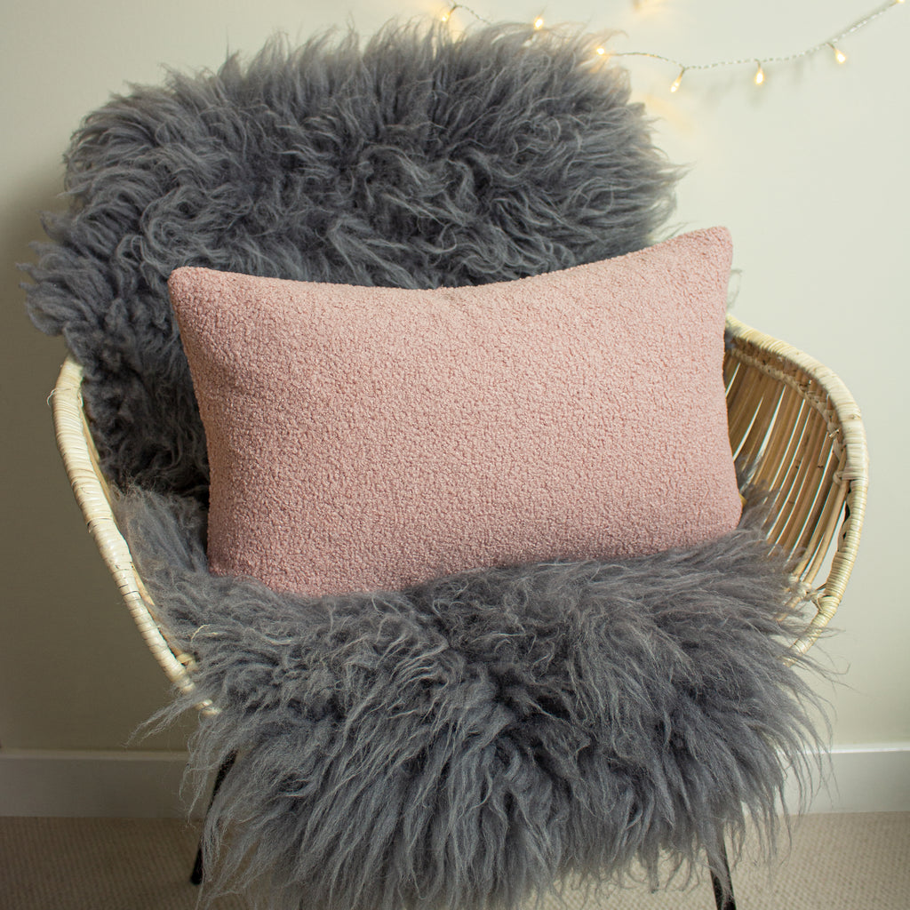 Malham Shearling-Feel Fleece Oblong Cushion in Powder