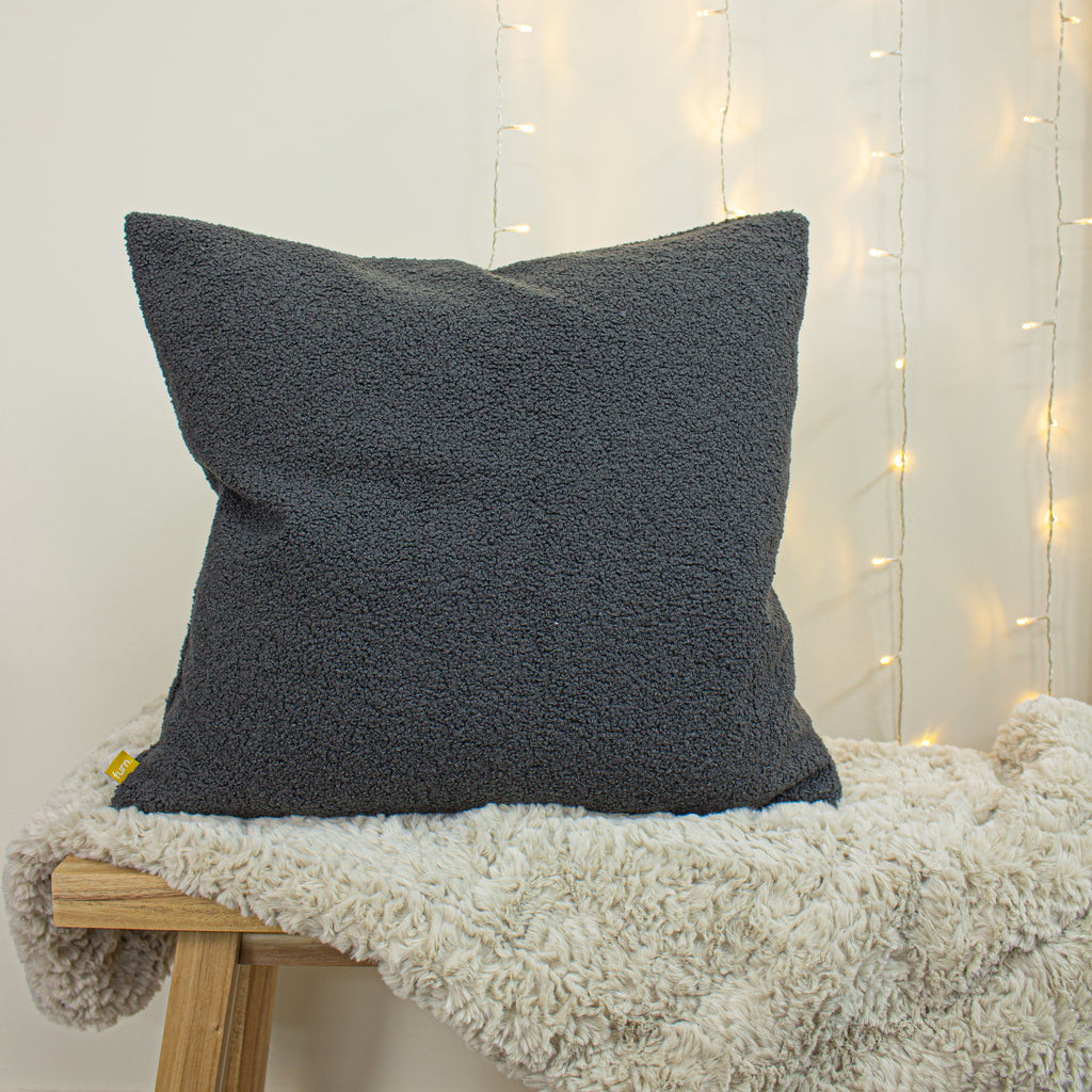 Malham Shearling-Feel Fleece Cushion in Granite