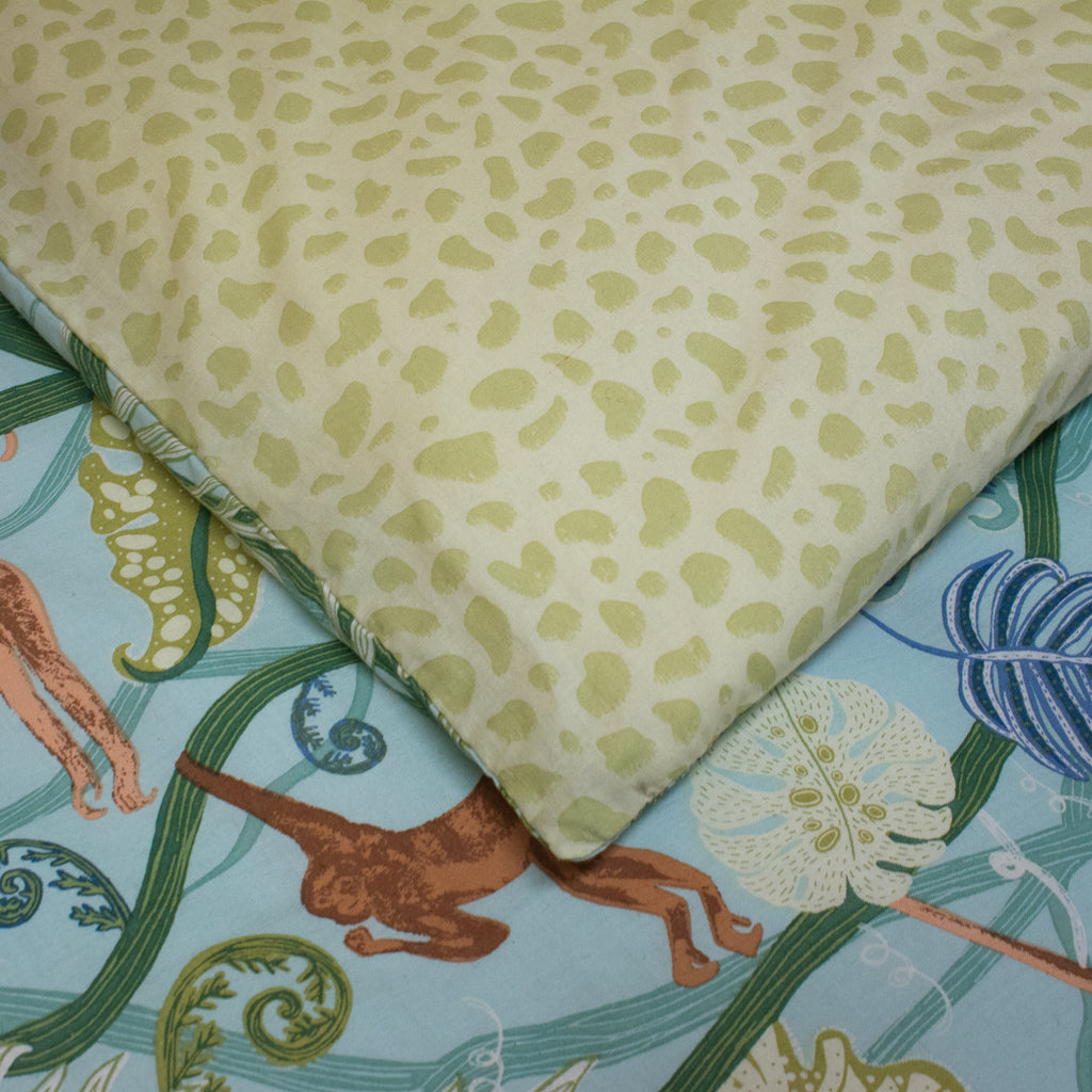 Monkey Forest Duvet Cover Set in Green