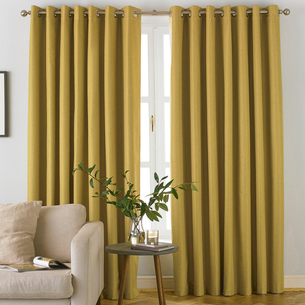 Moon Eyelet Blackout Curtains in Ochre