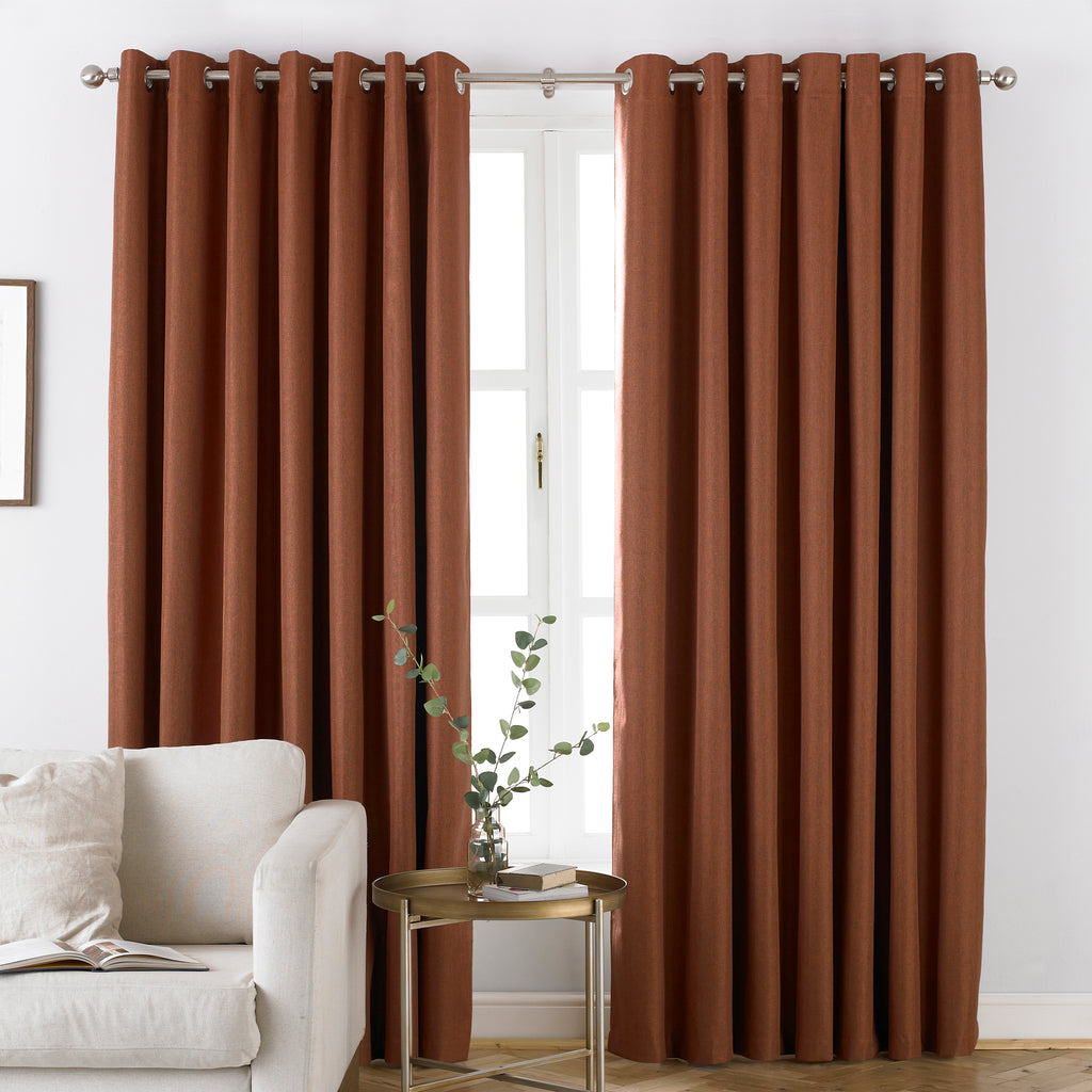 Moon Eyelet Blackout Curtains in Burnt Orange