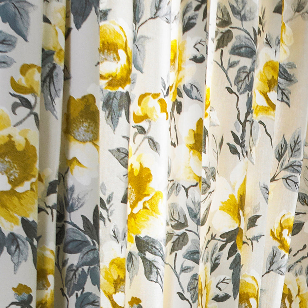 Peony Pencil Pleat Curtains in Ochre