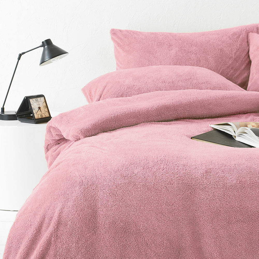 Sherpa Duvet Set in Blush