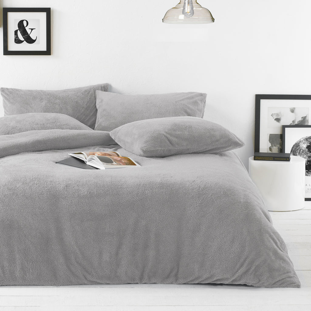 Sherpa Duvet Set in Grey