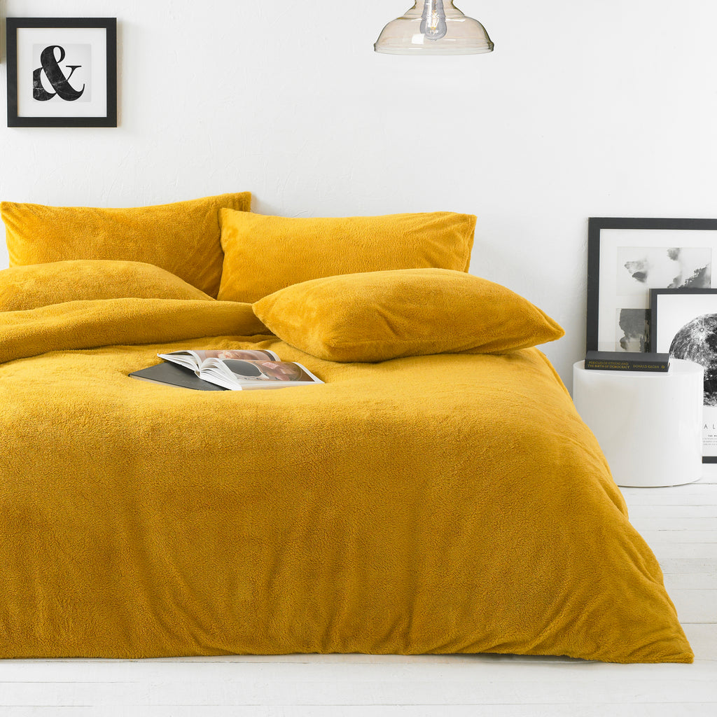 Sherpa Duvet Cover Set in Ochre