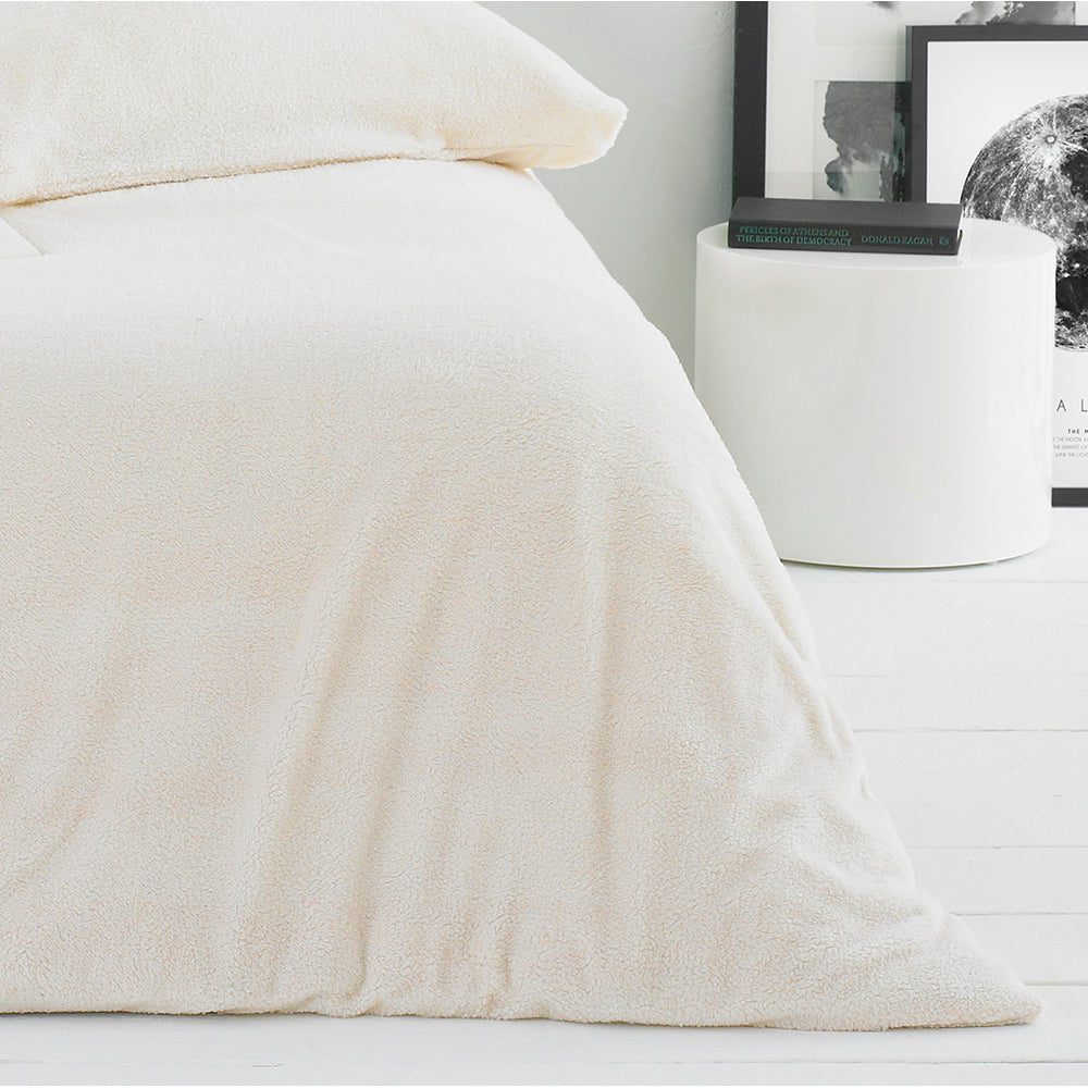 Sherpa Duvet Cover Set in Snow