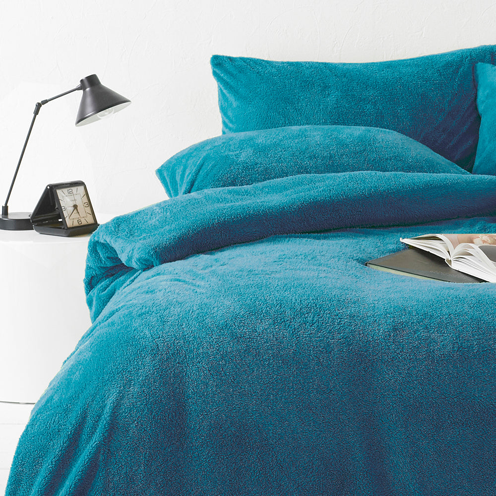 Sherpa Duvet Cover Set in Teal
