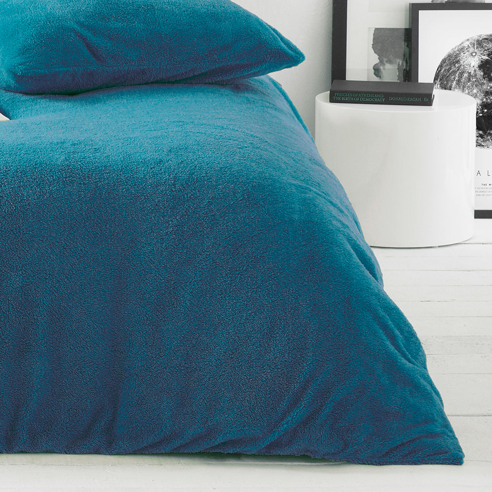 Sherpa Duvet Set in Teal