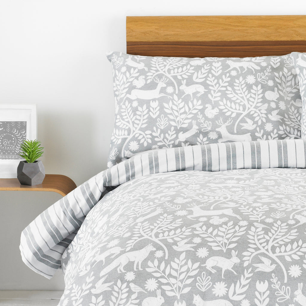 Skandi Woodland Duvet Cover Set in Grey