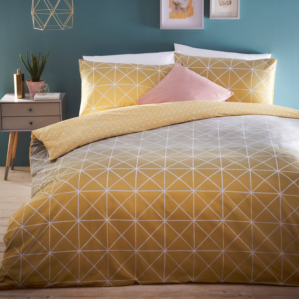 Spectrum geometric duvet cover set in ochre-grey. reversible design, Available in single, double, king and super king sizes.
