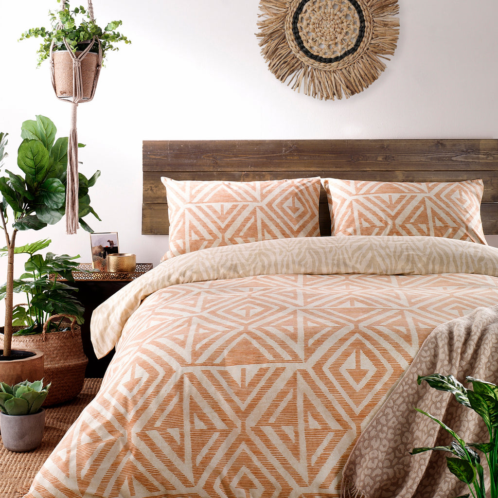 Tanza Duvet Cover Set in Terracotta