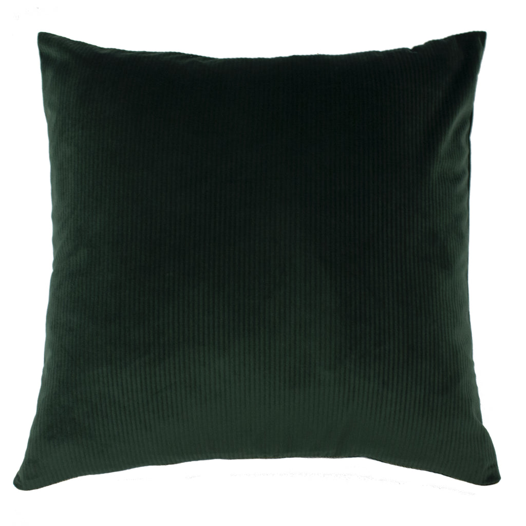 Ribbed velvet cushion in emerald green with exposed brass zip