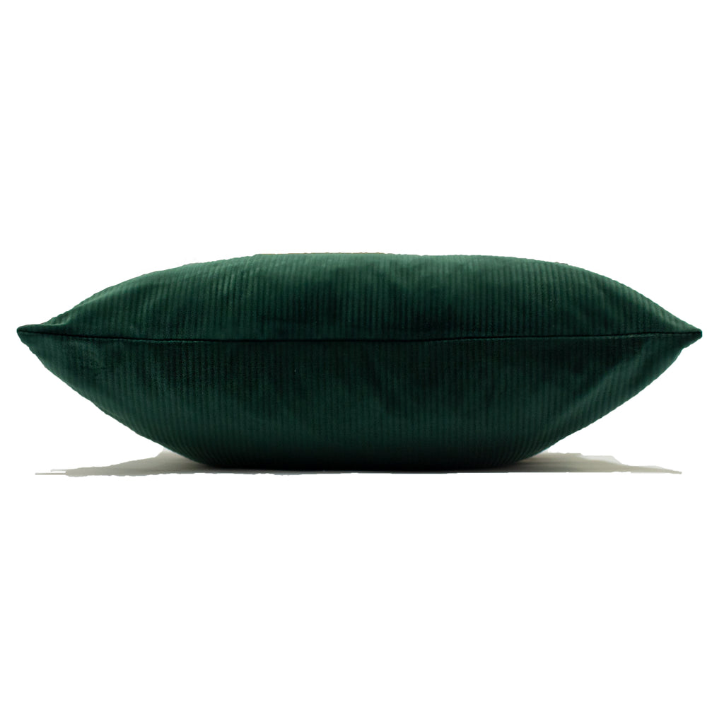 Aurora Ribbed Velvet Cushion in Emerald