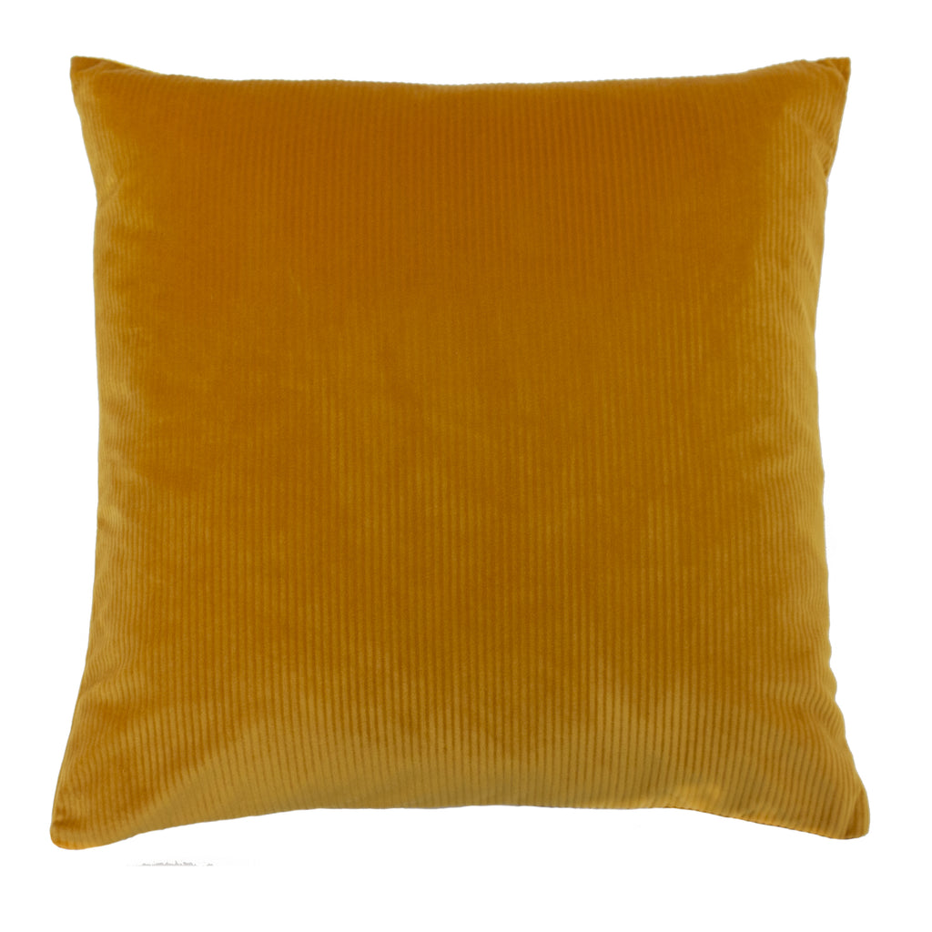 Aurora Ribbed Velvet Cushion in Ochre